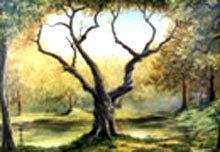 Một tác phẩm về cây trong triển lãm.
