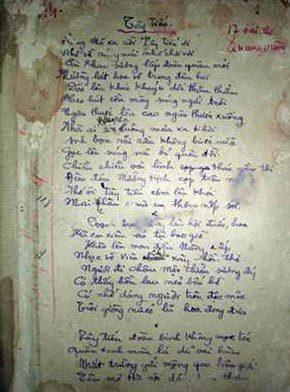 Bút tích bài thơ 'Tây Tiến'.