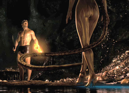 Angelina Jolie trong vai mẹ của Grendel, để trả thù cho con đã tìm cách hút hồn người anh hùng Beowulf. Ảnh: imdb.