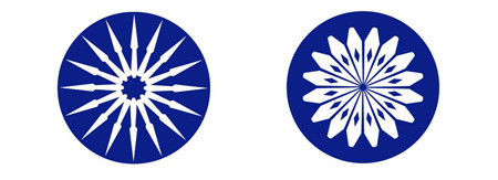 Hình ảnh 16 mũi tên và bông hoa 16 cánh qua lăng kính.