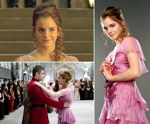 Đẹp: Bộ váy phớt hồng Hermione mặc trong buổi Dạ vũ Giáng sinh ở tập 4 Harry Potter và chiếc cốc lửa. Tương tự trong truyện, các nàng phù thủy như Cho Chang và Fleur Delacour đều rất quyến rũ trong buổi Dạ vũ, nhưng tất cả đều bị lu mờ trước Hermione khi cô xuất hiện. Đây cũng là tập phim chứng kiến sự lột xác của Emma khỏi hình tượng cô bé dễ thương, trở thành một thiếu nữ xinh đẹp. Buổi Dạ vũ cũng là lần đầu tiên Hermione và Ron thể hiện cảm xúc giận hờn kiểu lứa đôi.