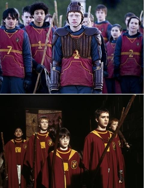 """Đẹp: Trang phục thi đấu Quidditch ở tập 5 Harry Potter và Hội phượng hoàng. Thực ra, không phải đến tập 5, trang phục thi đấu Quidditch mới khiến các fan của loạt phim ngất ngây vì độ đẹp. Ngay từ tập một hình ảnh các cầu thủ Quidditch đã rất ấn tượng. Nhưng đến tập 5, với việc Ron trở thành Thủ môn và Harry là đội trưởng đội Gryffindor, trang phục thi đấu cũng có sự thay đổi: màu sắc tối hơn và kiểu dáng chững chạc hơn. Bất cứ chàng phù thủy nào diện trang phục thi đấu Quidditch đều trông rất đẹp trai, tương tự hai chàng cầu thủ được mệnh danh """"đẹp trai nhất nhì loạt phim"""" Cedric Diggory (Robert Pattinson thủ vai) ở tập 4 và Oliver Wood (Sean Biggerstaff) ở tập 1 và 2."""
