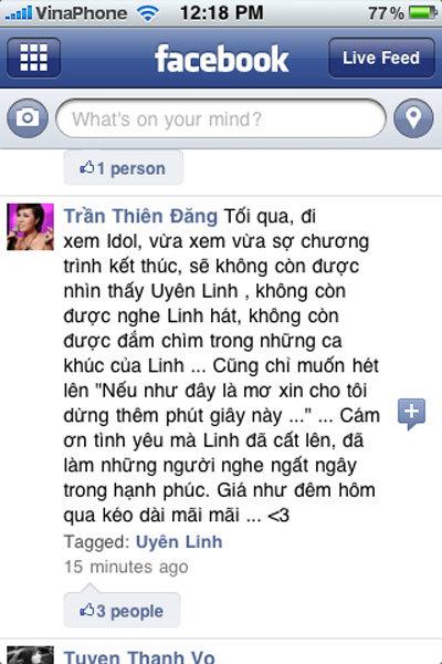 Một bạn trẻ dùng status bày tỏ tình cảm với Uyên Linh trên status