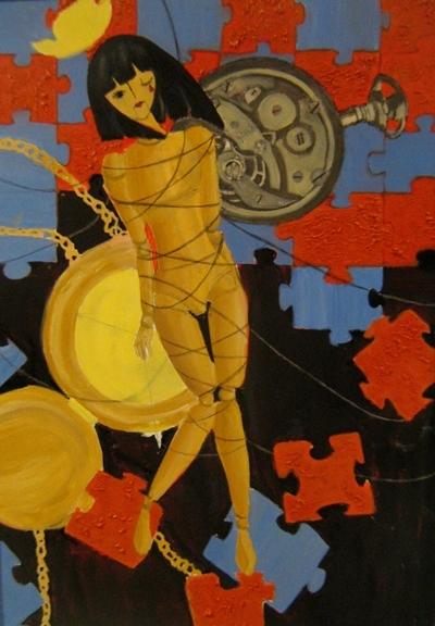 Tranh sơn dầu của em Đàm Thư, 13 tuổi.