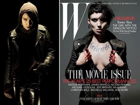 Hình tượng Lisbeth Salander do hai diễn viên Noomi Rapace (trái) và Rooney Mara thủ vai trong hai phiên bản Thụy Điển và Mỹ.