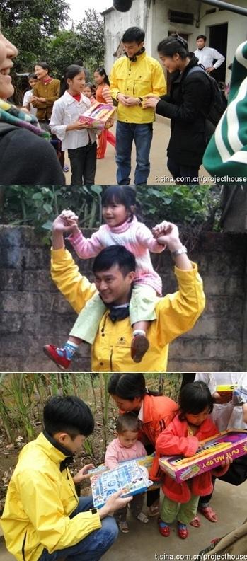 Trương Trí Lâm vui chơi với các em nhỏ tại Phú Thọ.