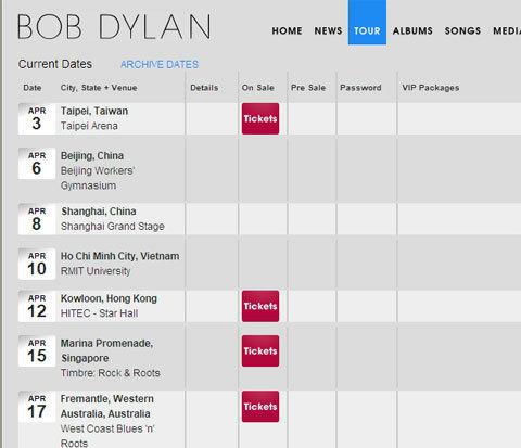 Lịch biểu diễn tháng 4 của Bob Dylan trên trang web của ông.