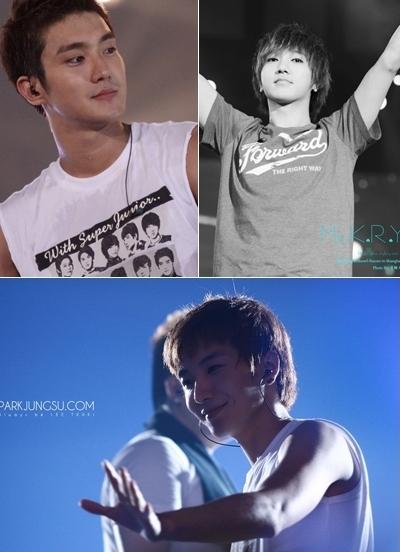 Hình ảnh các thành viên Super Junior tại Super Show 3 (trái sang, trên xuống): Heechul, Yesung và trưởng nhóm Lee Teuk. Ảnh: krfilm.