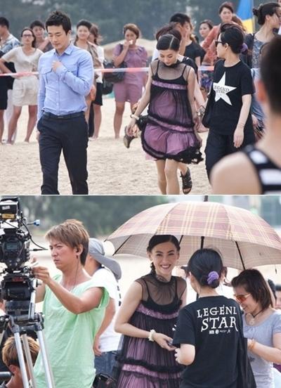 Kwon Sang Woo và Trương Bá Chi trên trường quay.