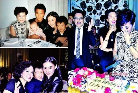 Vợ chồng Tạ Đình Phong - Trương Bá Chi cùng hai con trai dự sinh nhật bà mẹ Địch Ba Lạp.