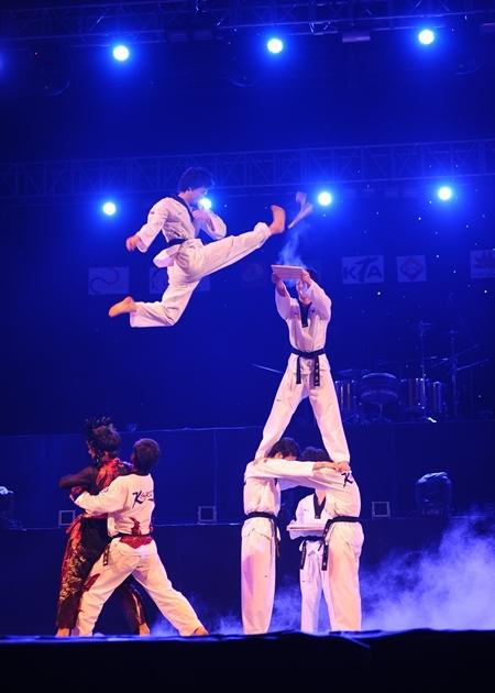 Màn biểu diễn võ thuật Taekwondo đẹp mắt nhận được sự ủng hộ từ khán giả.
