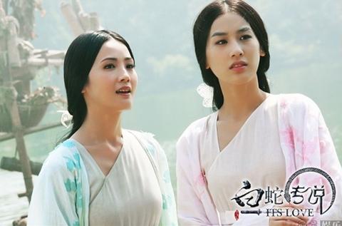 Hai nhân vật Thanh Xà, Bạch Xà trong phim.
