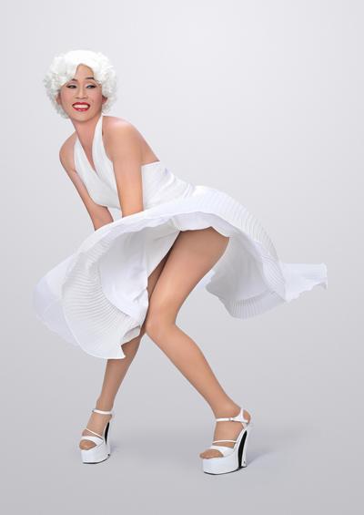 """Hoài Linh vừa thực hiện một bộ ảnh thời trang để phục vụ cho việc tạo hình nhân vật Marilyn Monroe, người anh sẽ hóa thân trong những khoảnh khắc thật hài hước ở bộ phim Tết """"Hello Cô Ba"""" do """"bầu"""" Phước Sang thực hiện."""