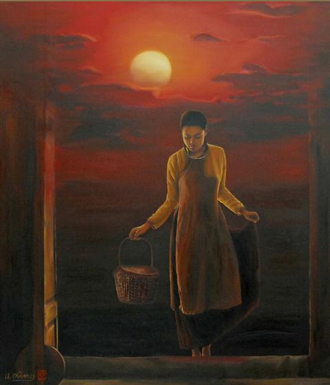 """Là người có nhiều tranh nổi tiếng về áo dài Việt Nam, ở triển lãm này, họa sĩ tiếp tục tôn vinh nét duyên dáng, đằm thắm của người con gái trong tà áo dài. Thiếu nữ vận tấm áo cũ, nô đùa ngoài đồng ruộng, vẫy vùng với cỏ hoa... khiến tranh của Nguyễn Quốc Dũng trở nên mênh mang, bay bổng. Đó chính là không gian để cho những người đẹp thỏa sức tung tăng, phơi bày nét trinh nguyên, e ấp.""""...Dù hiện tại còn lắm cảnh trái ngang, dù đời còn nhiều mùi khó ngửi, dù tình còn tức tưởi đắng cay, cứ vui cười đi, nước mắt cứ rơi đi. Người người vẫn biết em là hiện thân cái đẹp. Vì em là mãi là giọt xuân..."""", đó là dòng tâm sự mà Nguyễn Quốc Dũng gửi gắm vào tranh ông."""