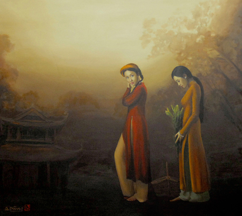"""Lần mang tranh đến Sài Gòn gần nhất của họa sĩ Nguyễn Quốc Dũng là triển lãm """"Đi qua mùa sen"""" vào năm 2010. Đầu năm nay, với 20 bức sơn dầu thể hiện hình ảnh thiếu nữ và áo dài xưa, trong buổi trưng bày chủ đề """"Giọt xuân"""", ông tái ngộ khán giả TP HCM. Vẫn với nét cọ rất riêng, tả thực mà vẫn lãng mạn, bay bổng, họa sĩ người Hà Nội cho thấy niềm đam mê sáng tạo vô tận khi thể hiện vẻ đẹp của người phụ nữ Việt Nam."""