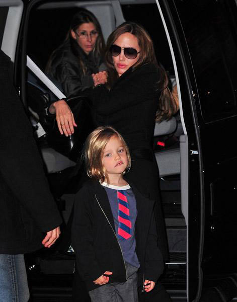 Angelina Jolie and Shiloh Jolie-Pitt visit a Manhattan movie theater in New York City (December 3, 2011).