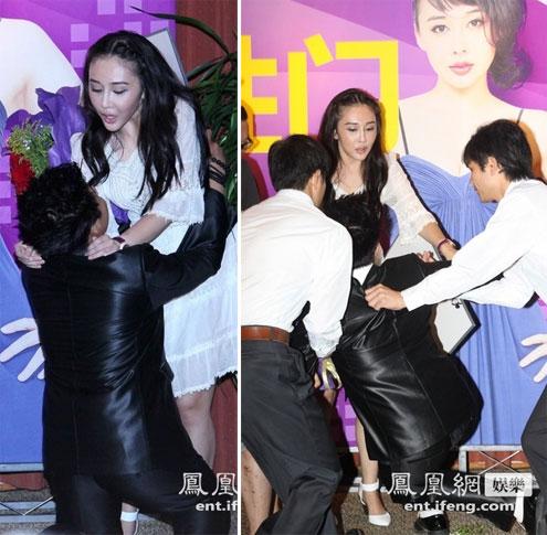 Trần Mỹ Hạnh được fan quỳ gối cầu hôn (trái), phải nhờ đến giúp đỡ của hai thanh niên, cô mới thoát khỏi sự bám riết của fan này. Ảnh: Ifeng.