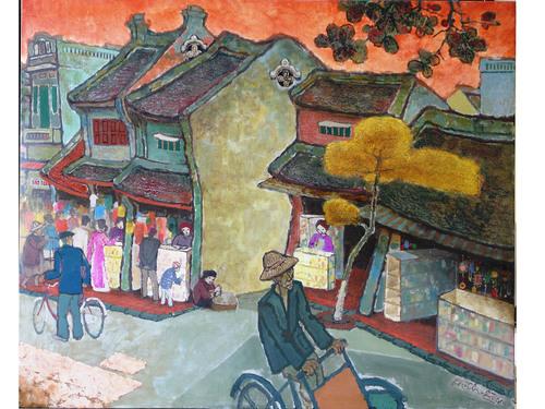 Bức tranh sơn mài phong cảnh của họa sĩ Phùng Dzi Thuần.