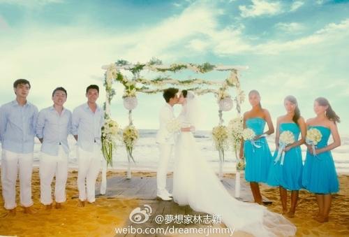 Lâm Chí Dĩnh tổ chức đám cưới muộn với Trần Nhược Nghi hôm 30/7 tại một khu nghỉ dưỡng ở Thái Lan. Mới đây, diễn viên 39 tuổi chia sẻ trên trang cá nhân một số hình ảnh trong lễ cưới.