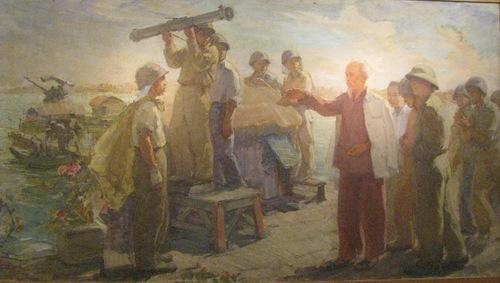 2. Bác Hồ thăm trận địa pháo ở Hồ Tây (sơn dầu- Nguyễn Cao Thương)