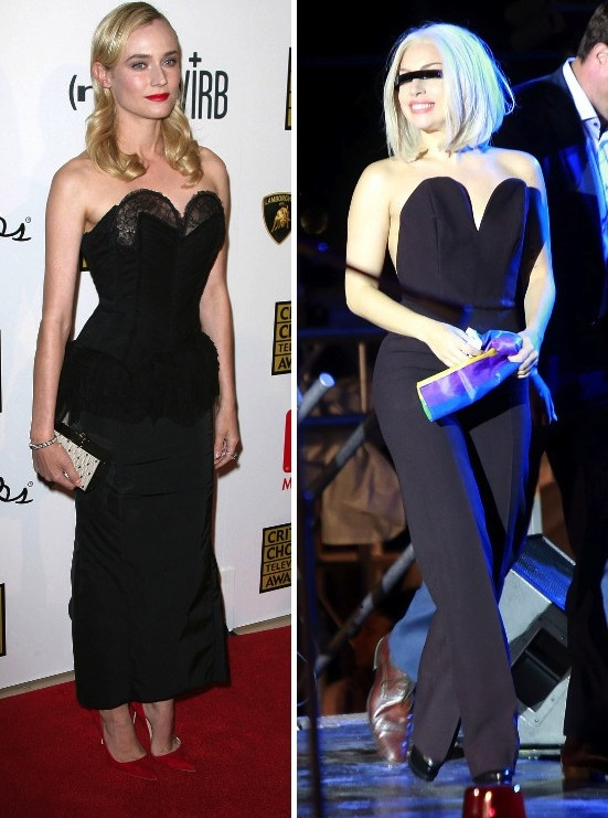 Theres a sugary sweetheart neckline, and then theres the Jessica Rabbit-inspired va-va-voom plunge which Diane Kruger and Lady Gaga both recently worked. In a very Dita Von Teese-approved look, Kruger strutted her stuff in a Nina Ricci corset dress with a lacy exaggerated sweetheart neckline, a Jason Wu clutch and red Manolo Blahnik pointy pumps. Lady Gaga took the effect even further in a Maison Martin Margiela jumpsuit at the Pride Rally in NYC. Whos sweetheart neckline has you falling in love?