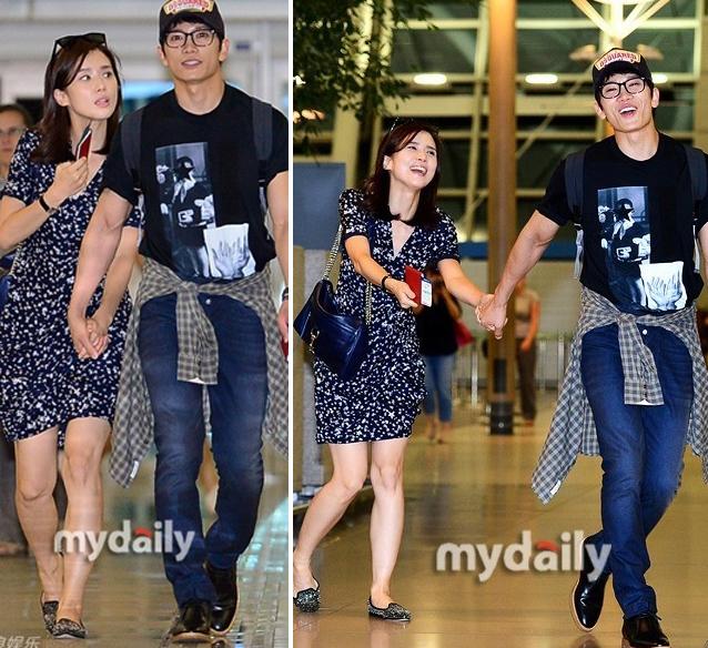 Lee Bo Young, Ji Sung ở sân bay.