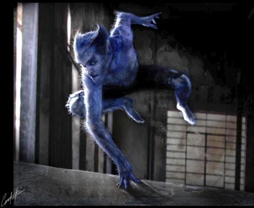 Tạo hình của nhân vật Beast trong phim. Beast trong phác họa mang dáng vẻ dã thú hơn trong phim.