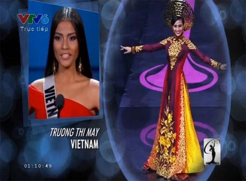 Đại diện Việt Nam Trương Thị May trong video trình chiếu tại Miss Unvierse 2013.
