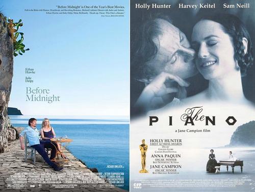 "Poster hai bộ phim ""Before Midnight"" và ""The Piano""."