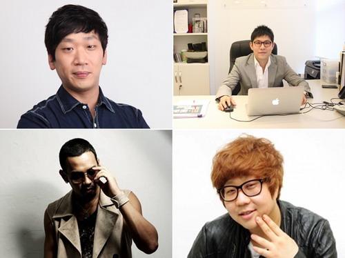 Bốn gương mặt nhận lời làm giám khảo của Ngôi sao Việt (từ trên xuống, từ trái sang) - Kim Do Hoon, Kim Jin Woo, Mario và Shinsadong Tiger.