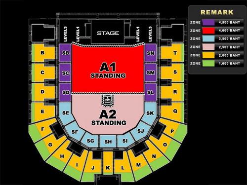 Sơ đồ sân khấu, khu vực khán giả và các mức giá vé trong đêm diễn của Avril Lavigne tại Bangkok tối 11/2 năm sau. Ảnh: Bec-Tero.