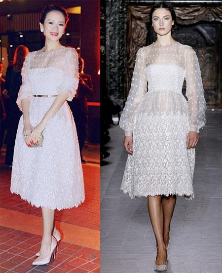 Tử Di nhận được rất nhiều lời khen ngợi khi diện váy trắng của Valentino tham gia hoạt động trong khuôn khổ LHP Cannes 2013.