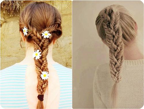 3. Thắt bím đuôi cá lồng vào nhau Để đạt được hiệu quả thẩm mỹ, kiểu tóc cầu kì này đòi hỏi một mái tóc khá dài, dày, thẳng và mềm mượt. Chia tóc thành ba phần để thắt thành ba bím đuôi cá. Sau đó dùng chính ba bím tóc ấy để thắt bím thêm lần thứ hai. Với những cô gái tóc dày, dài, hay xù muốn mình trông gọn gàng hơn nhưng vẫn đẹp, đây là kiểu tóc thích hợp nhất. Tuy nhiên, nó tốn của bạn khá nhiều thời gian để hoàn thành.