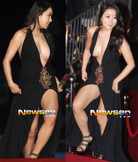 Diễn viên chưa mấy tên tuổi Ha Na Kyung diện váy hở trên hở dưới, lộ thân hình sồ sề trên thảm đỏ Rồng Xanh