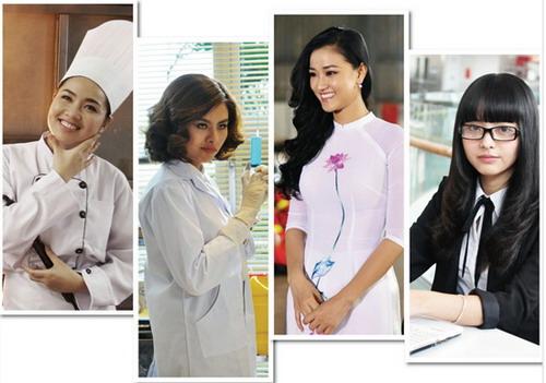 """Bốn """"cô dâu"""" của """"Cô dâu đại chiến 2"""" - Quyên đầu bếp (Lê Khánh), bác sĩ Mai Châu (Vân Trang), cô giáo Thu Huyền (Maya) và tiểu quái công nghệ Quỳnh Vy (Yu Dương)."""