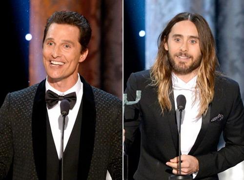 """Matthew McConaughey (trái) và Jared Leto giành giải Nam chính và Nam phụ xuất sắc với vai diễn của họ trong """"Dallas Buyers Club"""". Ảnh: Zimbio."""
