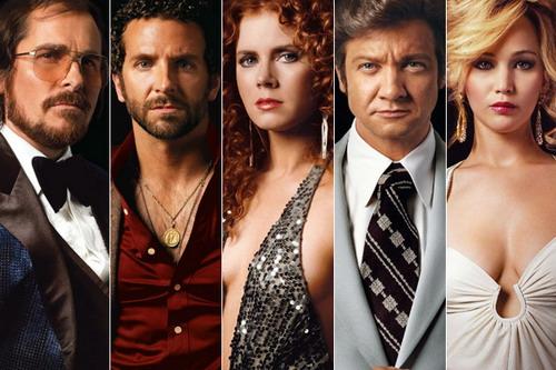 "Dàn diễn viên của ""American Hustle"" (từ trái sang) - Christian Bale, Bradley Cooper, Amy Adams, Jeremy Renner và Jennifer Lawrence."