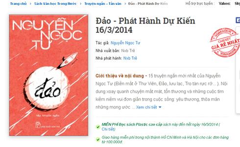 Trong khi Vinabook cam kết bán giá rẻ nhất tập truyện sắp phát hành của Nguyễn Ngọc Tư với mức giảm 20% thì Tiki đang giảm ở mức
