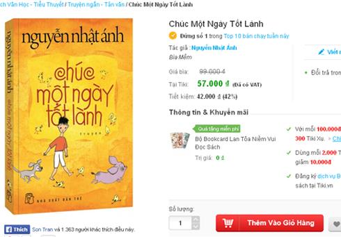 Sách mới của Nguyễn Nhật Ánh được giảm giá mạnh trên mạng.