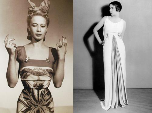3. Elsa Schiapparelli Vào những năm 1920, chỉ có vài người có thể sánh ngang với cây đại thụ làng mốt Coco Chanel, một trong số đó là quái kiệt Elsa Schiapparelli. Những thiết kế đẳng cấp nhưng có phần lập dị của bà dường như đối lập với phong cách quý phái, cổ điển của Chanel. Có thể kể đến chiếc mũ hình giày cao gót, bộ váy hình tôm hùm hay bộ xương người& Chính bà cũng là nguồn cảm hứng lớn để Christian Lacroix bước chân vào làng thời trang thế giới.