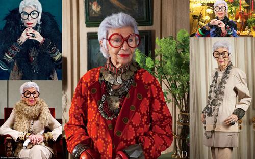 4. Iris Apfel Mái đầu trắng bạc phơ cũng không ngăn được lão bà Iris Apfel thôi đi niềm đam mê cuồng nhiệt với thời trang. Ở cái tuổi ngoài 90, bà vẫn nhí nhảnh, lòe loẹt và đỏm dáng như những cô gái trẻ. Người ta dễ dàng nhận ra Iris với chiếc kính tròn to cộ khi đen khi đỏ lấn át cả gương mặt, những mẫu vòng to bản như nuốt cả bàn tay, dây chuyền kiểu chuỗi hạt cỡ lớn quấn đầy quanh cổ và kiểu trang phục nhiều tầng nhiều lớp, màu mè nhưng không kém phần sang trọng.