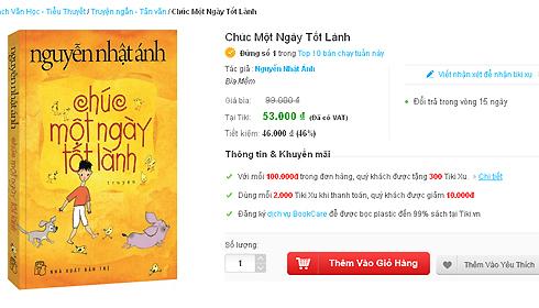 Sách của Nguyễn Nhật Ánh không được giữ mức giảm giá 46% trên mạng như hiện nay.