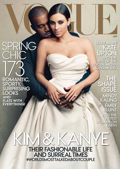 Kim Kardashian và Kanye West trên bìa Vogue.
