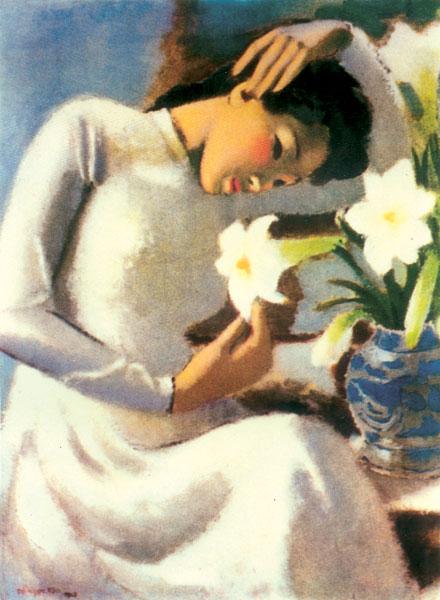"""Bức tranh """"Thiếu nữ bên hoa huệ"""" của họa sĩ Tô Ngọc Vân là một trong những tác phẩm nghệ thuật nổi tiếng gợi đến không gian của tháng tư."""