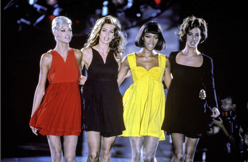 We'd take front row at any runway show the supers walked, but they had an extra special place on Gianni Versace's Fall 1991 runway. Glamazons Linda Evangelista, Cindy Crawford, Naomi Campbell and Christy Turlington closed this particular show in Milan in flirty black and primary color dresses that still look relevant thanks to one of the greatest designers of our time