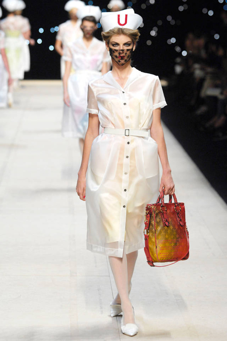 Marc Jacobs collaborated with Richard Prince on bags for Louis Vuitton's Spring 2008 season and appropriated the artist's well-known nurse paintings on the runwayto perfectly creepy and iconic results. Some of those creepyyet artfulnurses were Stephanie Seymour, Eva Herzigova, and Naomi Campbell, by the way