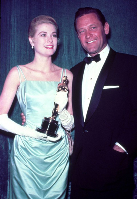clutching her Oscar alongside actor William Holden at the Academy Awards in Los Angeles Wearing: an Edith Head ice green dress and long silk gloves Read more at http://www.marieclaire.co.uk/fashion/ideas/34648/0/ultimate-style-icons-grace-kelly.html#Jy6qxlwO17Z8aJeC.99