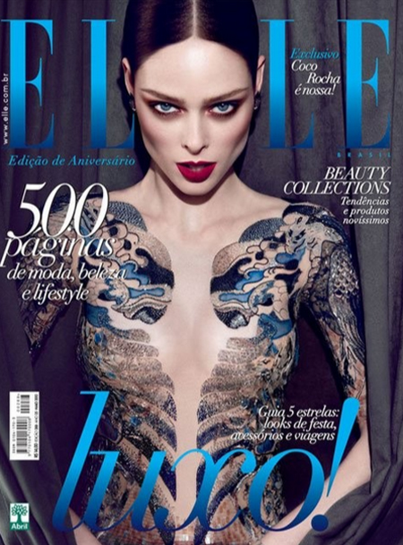 Elle Brasil May 2012 Coco Rocha took to Tumblr to voice her extreme disappointment that her cover was photoshopped to make it appear she was more nude than she actually was. Coco has long had a history of no nudity or partial nudity in her shoots, and didnt expect her sheer bodysuit to be photoshopped out.