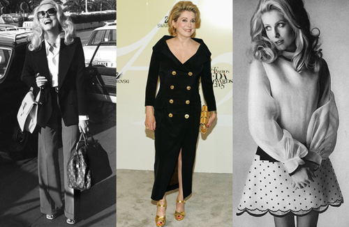 9. Catherine Deneuve Huyền thoại điện ảnh tài năng của nước Pháp đã khéo léo lấn sang làng thời trang khi trở thành nguồn cảm hứng cho rất nhiều đạo diễn và nhà thiết kế, ngay cả khi tuổi đã cao. Trước đây, Catherine từng là người thay thế Brigitte Bardot trở thành biểu tượng quốc gia trong giai đoạn đó, nhờ vẻ đẹp tự nhiên lộng lẫy trong giai đoạn vàng son của mình.