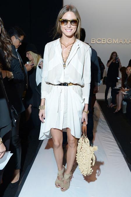 Trẻ trung, nữ tính nhưng vẫn rất cá tính  là cách mà Olivia Palermo kết hợp cùng The white dress shirt tại show diễn của BCBG năm 2014